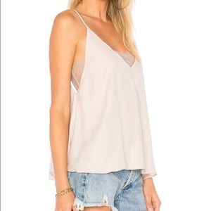 Free People Deep V Lace Camisole Tank Alabaster XS